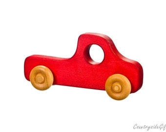 Wooden Toy Truck - Natural & Organic Wooden Toy Truck for Toddlers, Kids, Children, Wooden Toy Pickup Truck, Toy Truck, Maple Wood, Red