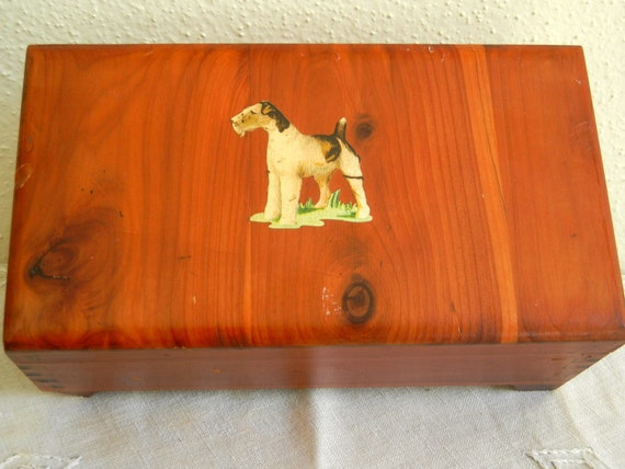 Wooden Dog Chest Vintage Deco Footed Cedar Box Hinged Dovetailed Terrier 1940s Treen Jewelry Trinket