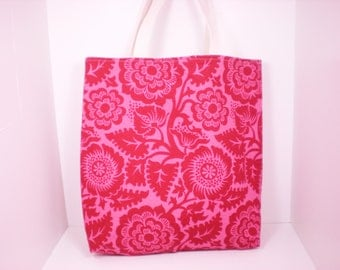 Crimson Blockprint Blossom XL Market Tote Ready to Ship