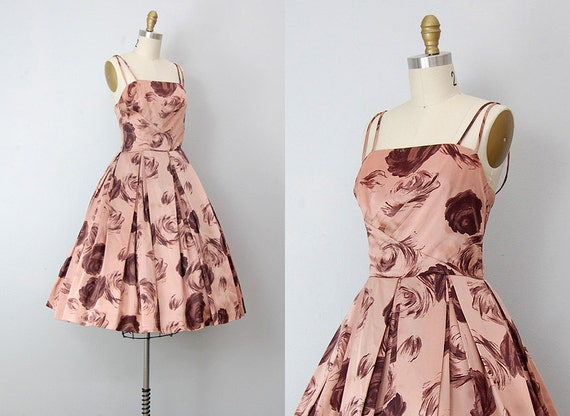 vintage 1950s dress / vintage 50s party dress / rose print 50s cocktail dress