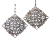 Antique Silver Filigree Earrings, Metal Lace Earrings, Diamond Shaped, Oxidized, Delicate