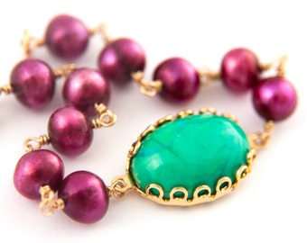 Green and Fuchsia Bracelet, Gold, Gemstone, Pearl, Hot Pink, Turquoise, Scalloped Lace Setting, Filigree Setting, Freshwater Pearls