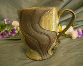 Ceramic Mug/Coffee Cup in Spring Green and Black Mountain - Terra Firma Style