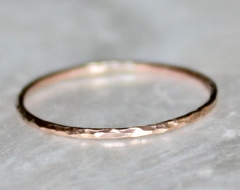 Solid 14kt  White, Yellow, or Rose Gold Hammered Shimmering Micro Skinny or Skinny Band - Stacking Wedding Promise Ring Midi Fitted Toe Ring