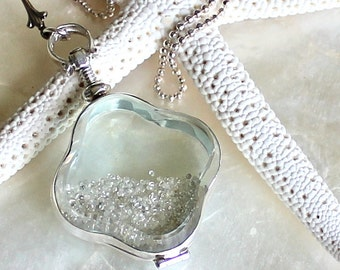 Sands of Time - Shake Necklace - Sterling Silver and Raw Rough Uncut Diamonds - Large Pendant - THE ORIGINAL