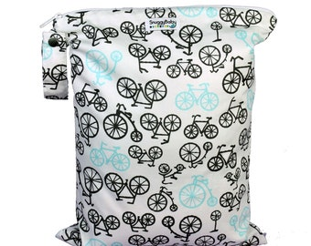LARGE Wet Bag w/ Waterproof Lining - Bicycle - Indestructable PUL - For Cloth Diapers, Mama Cloth Pads, Wet Swimsuits, & Cloth Nappies