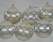 Vintage Christmas Ornaments White Silver Satin Sheen Christmas Ornaments x6