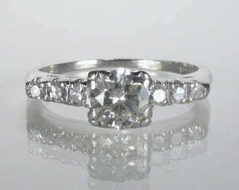 Antique Diamond and Platinum Engagement Ring - 0.78 Carats - Appraisal Included