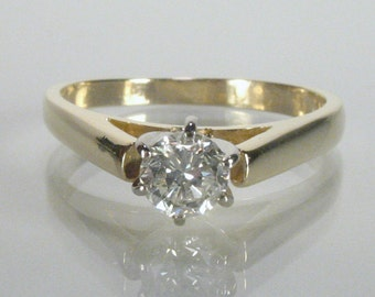 Engagement Ring - Diamond Solitaire Engagement Ring - 0.37 Carat Diamond