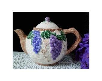 Teapot * Grape Design * Vintage TAKAHASHI SAN FRANCISCO * Hand Painted