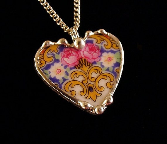 Broken china jewelry heart pendant necklace Antique Czech porcelain vibrant pink roses floral