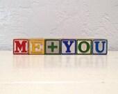 vintage wooden letter blocks - me and you