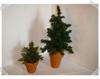 Artificial Pine Tree Decorations w/Terra-Cotta Pots/Set of 2/ Holiday Decor*