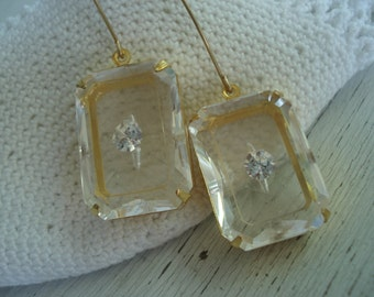 1920's Art Deco Vintage Etched Faceted Czech Crystal Glass Gold Earrings