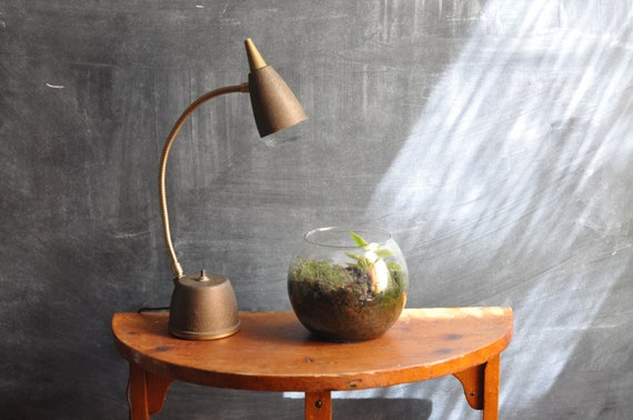 Vintage Modern Desk Lamp Brown Mad Men  Office Lighting