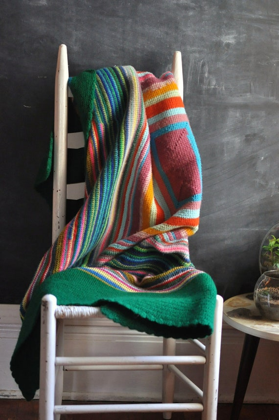 FOR ROBYN Vintage 70s Felted Afghan Blanket in Green and Rainbow Array