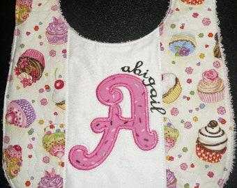 Girls baby bib personalized