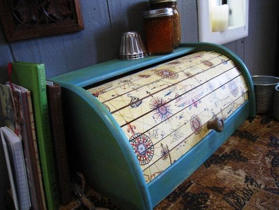 Italian Paper Roll Top Bread Box Kitchen Decor