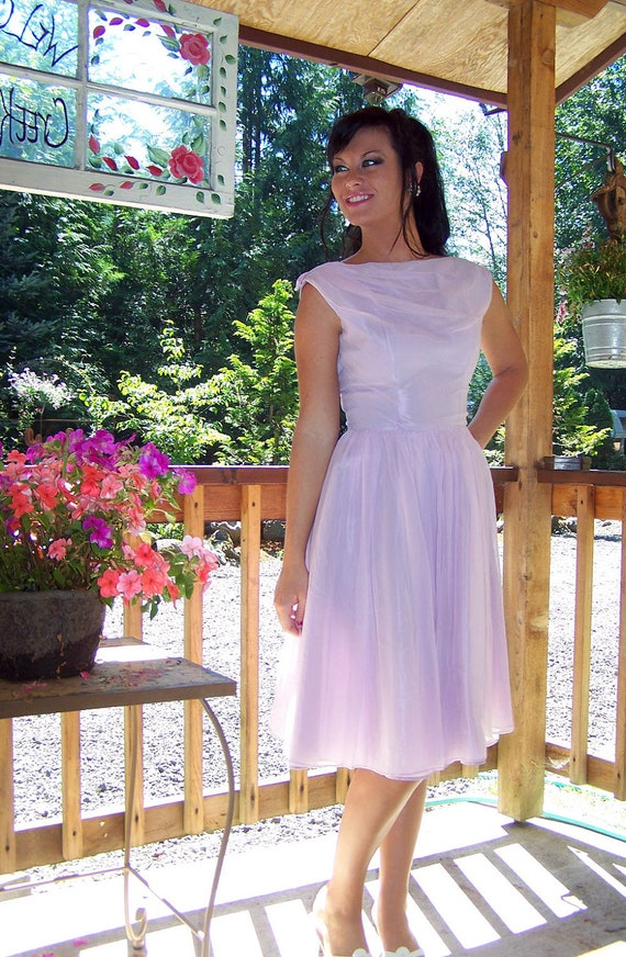 Luscious in Lilac-Vintage 1950s Chiffon Party/Cocktail/Wedding/Formal/Summer Dress by Lorrie Deb