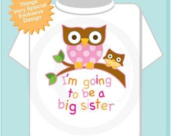 Big Sister Shirt I'm going to Be a Big Sister Owl Tee Shirt or Big Sister Onesie Pregnancy Announcement, Owl Big Sister (09282012b)