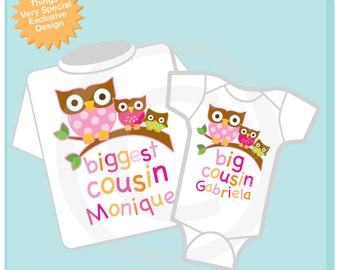 Set of Two Personalized Biggest Cousin Owl Shirt, and Big Cousin Owl Onesie or Shirt Set of 2