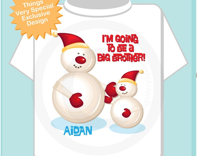 Boys Personalized I'm Going to Be A Big Brother Snowman design, perfect for Winter Pregnancy Announcements on Tees or Onesies (11222012a)