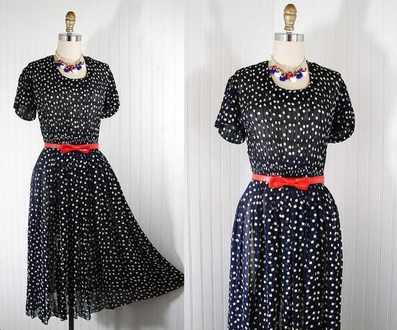 1940s Dress - Vintage 40s Navy Polka Dot Sheer Rayon Party Swing Dress S - Little Ms Dotty