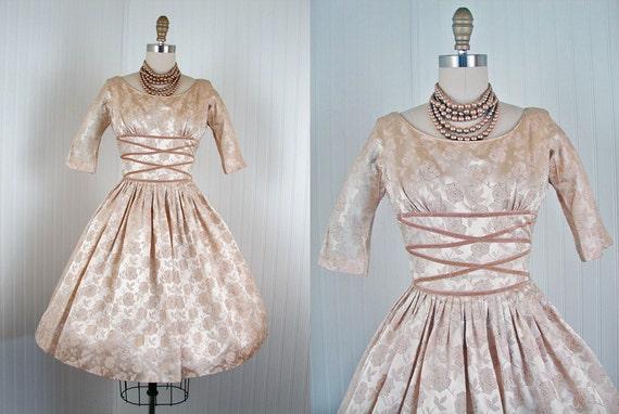 1950s Dress - Vintage 50s Ivory Silk Satin Roses Designer Full Skirt Wedding Party Dress S - Celestial Champagne