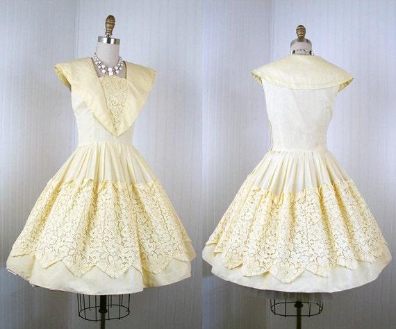 1950s Dress - Vintage 50s Cotton Yellow Sailor Full Skirt Day Party Sundress M - Buttercream