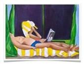 beach scene. fine art print. couple. reading. relaxing. books. beach. james patterson. original painting. figurative. wall art. home decor.