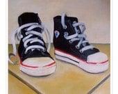 sneakers. fine art print. converse. chuck taylors. high tops. baby shoes. basketball. sports. nursery art. kids room. sports theme.  chucks.