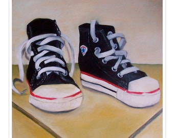sneakers. fine art print. converse. chuck taylors. high tops. baby shoes. basketball. sports. nursery art. kids room. sports theme.  chucks.
