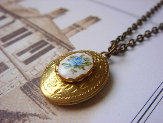 Petite Blue Rose - Vintage Locket - Necklace - Vintage Glass Rose Cabochon - Keepsake Jewelry