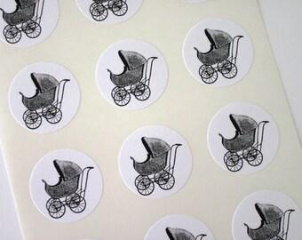 Pram Baby Carriage Stickers One Inch Round Seals
