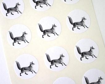 Fox Stickers One Inch Round Seals