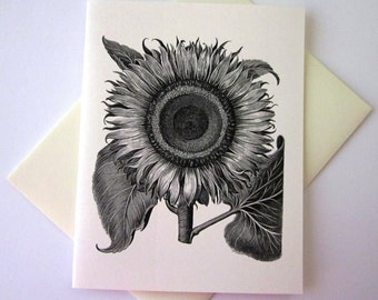 Sunflower Note Card Set of 10 in White or Light Ivory with Matching Envelopes