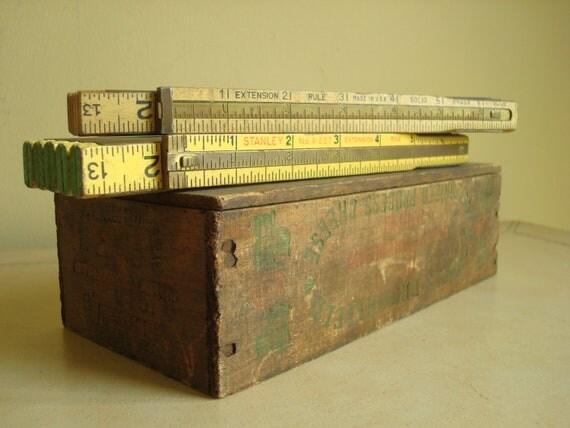 Pair brass slide carpenters yardsticks, vintage expansion rulers