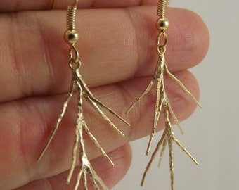 Matte Gold Branch Earrings, Organic Woodland Earrings, Gold Earrings