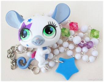 Kawaii Mouse Necklace, Beaded Chain with Upcycled Littlest Pet Shop Figure Pendant, Silver Plated - Whimsical, Kitsch