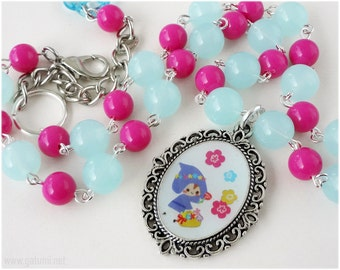 Kawaii Elf Necklace, Resin Cameo Pendant, Magenta and Teal Beaded Chain in Silver - Sweet Lolita, Fantasy