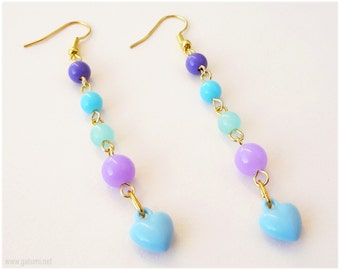 Pastel Blue Heart Earrings, Purple and Teal Beading, Very Long, Gold Plated - Kawaii, Fairy Kei Jewelry