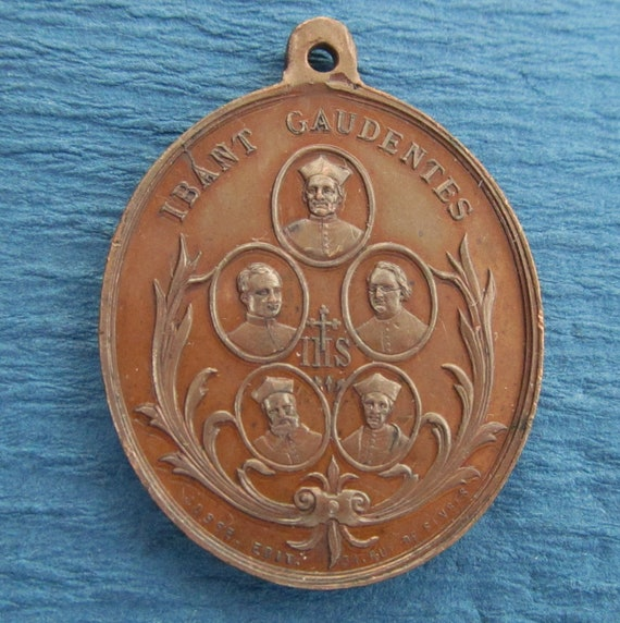 Jesuit Antique Religious Medal Five Society Of Jesus Fathers Martyred During the Paris Commune SS-464