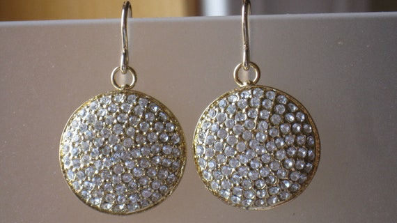 Gold Crystal pave large vermeil and gold filled Earrings