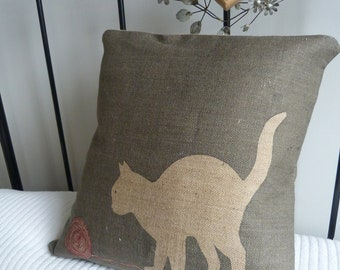 hand printed charcoal cat cushion cover
