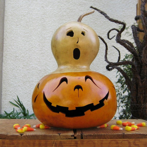 Halloween Jack-O-Lantern Gourd Spooky (Removable Ghost Top) Fall Trick Or Treat Decoration Candy Bowl