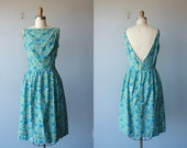 1950s dress / 50s party dress / floral cocktail dress / vintage 50s dress - size medium , large