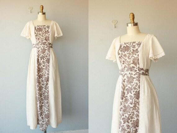1970s dress / 70s dress / bohemian maxi dress / 70s maxi dress / 1970s cotton maxi dress / boho - size small , medium