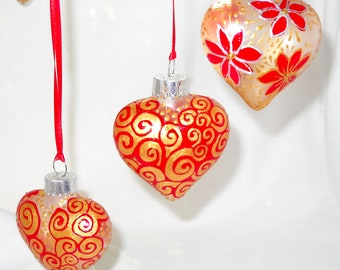 Red Heart Ornaments Hand Painted Glass Decorative Art Gift Set of Three Individually Gift Boxed