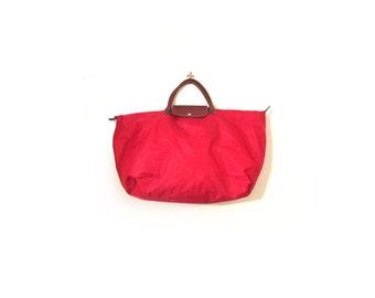Vintage 90s Oversized APPLE Red  Nylon Duffel Bag Tote Weekender