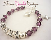 Cross First Communion Bracelet, Baptism - Birthstone Girl silver charm with amethyst swarovski crystals color/ christening bracelet gift/